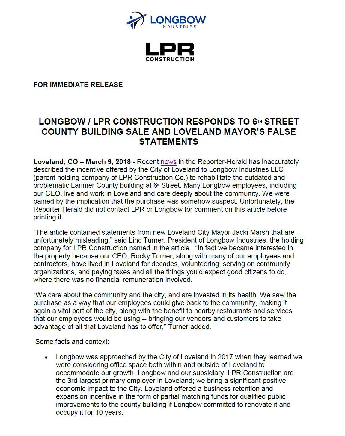 Press Release 3/9/2018